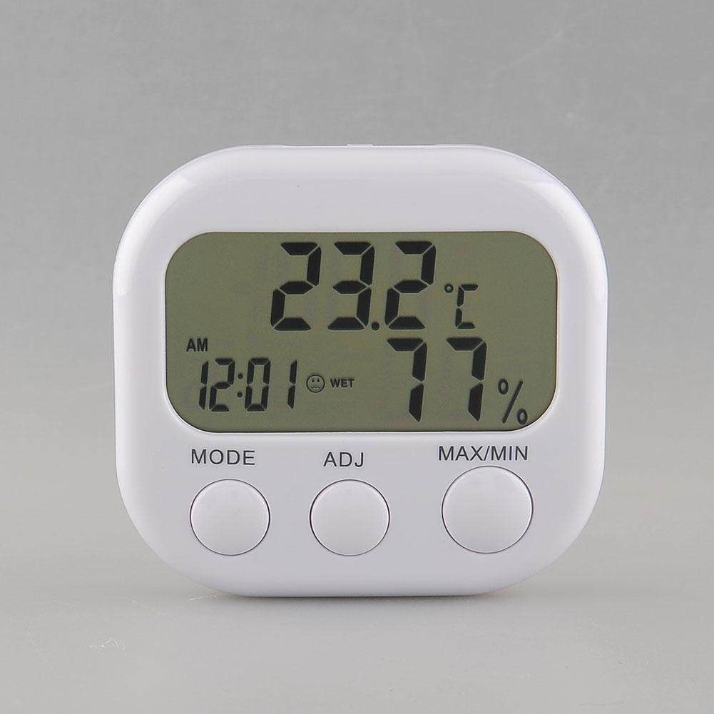 New Digital Thermometer Humidity Hygrometer Air Moisture Clock TA638 White