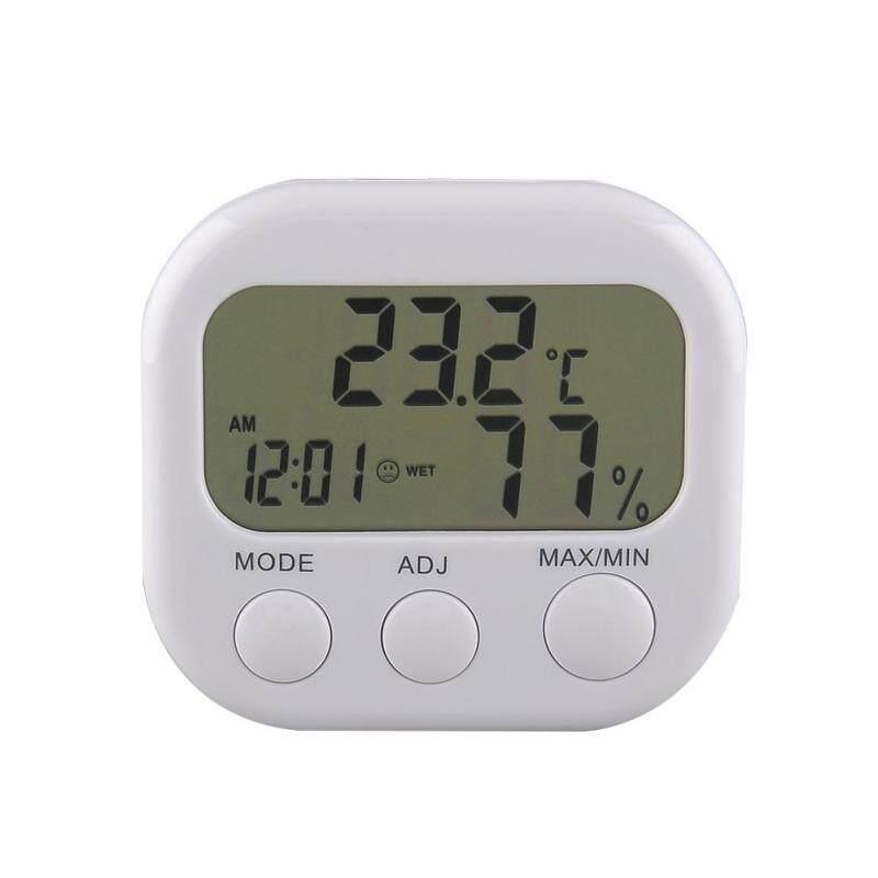 New Digital Thermometer Humidity Meter Hygrometer Air Moisture Clock TA638 White