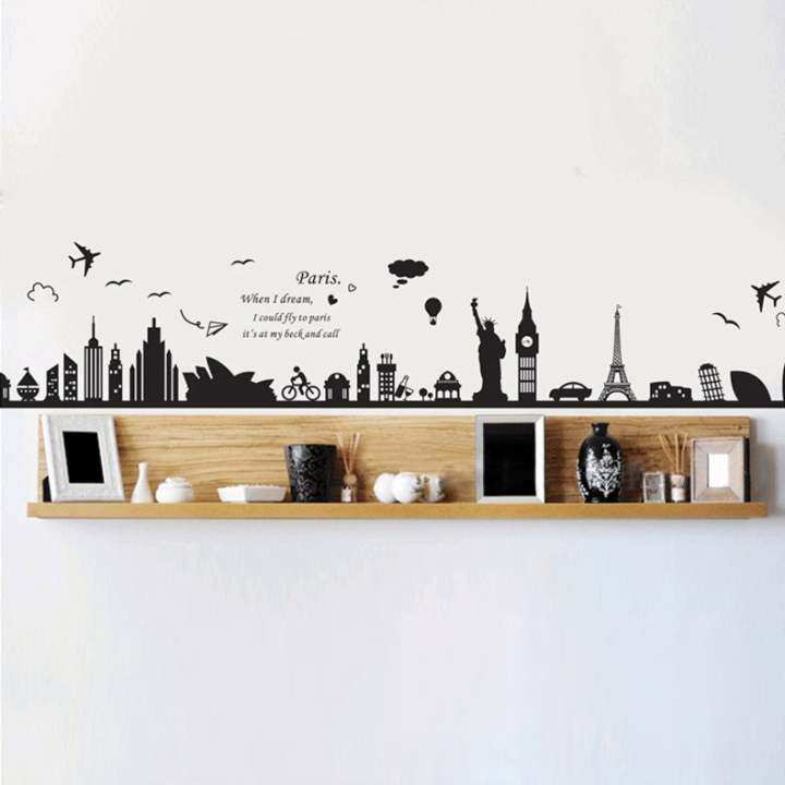 【ExpressDelivery+FreeShipping】New European Building Removable Wall Sticker Bedroom Sofa Backgound Decoration Wall Poster Wallpaper (MY)