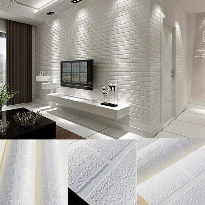 New Fashion 10m Brick pattern 3D White Textured Non-woven Flocking Wallpaper Wall Paper Home Decor - intl
