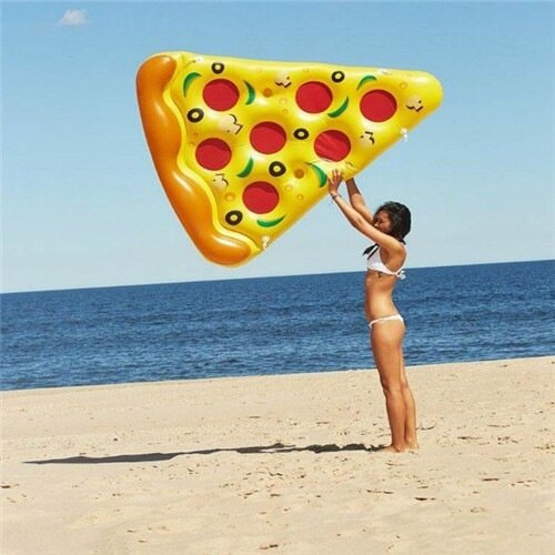 New Inflatable Floating Row of Pizza Donuts Swimming Pool Unicorn Swan Flamingo Floating Bed Inflatable Pools  (Yellow)