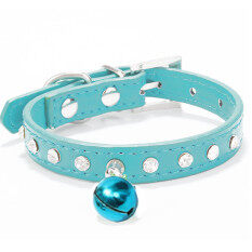 New Pet Dog Cat Diamante Pu Leather Collar With Safety Buckle And Bell Blue By Freebang.