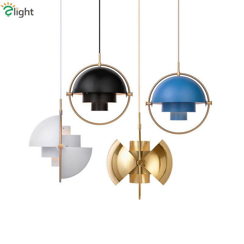 New Post Modern Rotatable Metal Semi Round Pendant Light Led E27 Dining Room Pendant Lamp Lustre