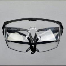 Mecola New Safety Eye Protection Clear Lens Goggles Glasses From Lab Dust Paint Lab  Black