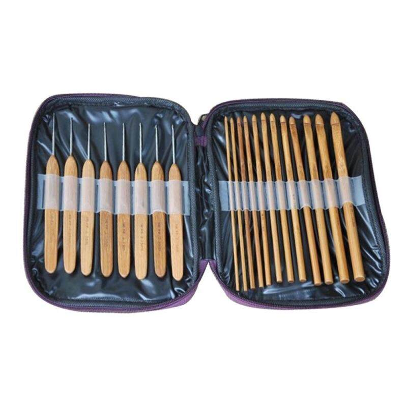 niceEshop 20 Pcs Bamboo Hook Knit Needles Craft Sewing Thread Bamboo Knitting Tools Crochet Hook Together With The Case