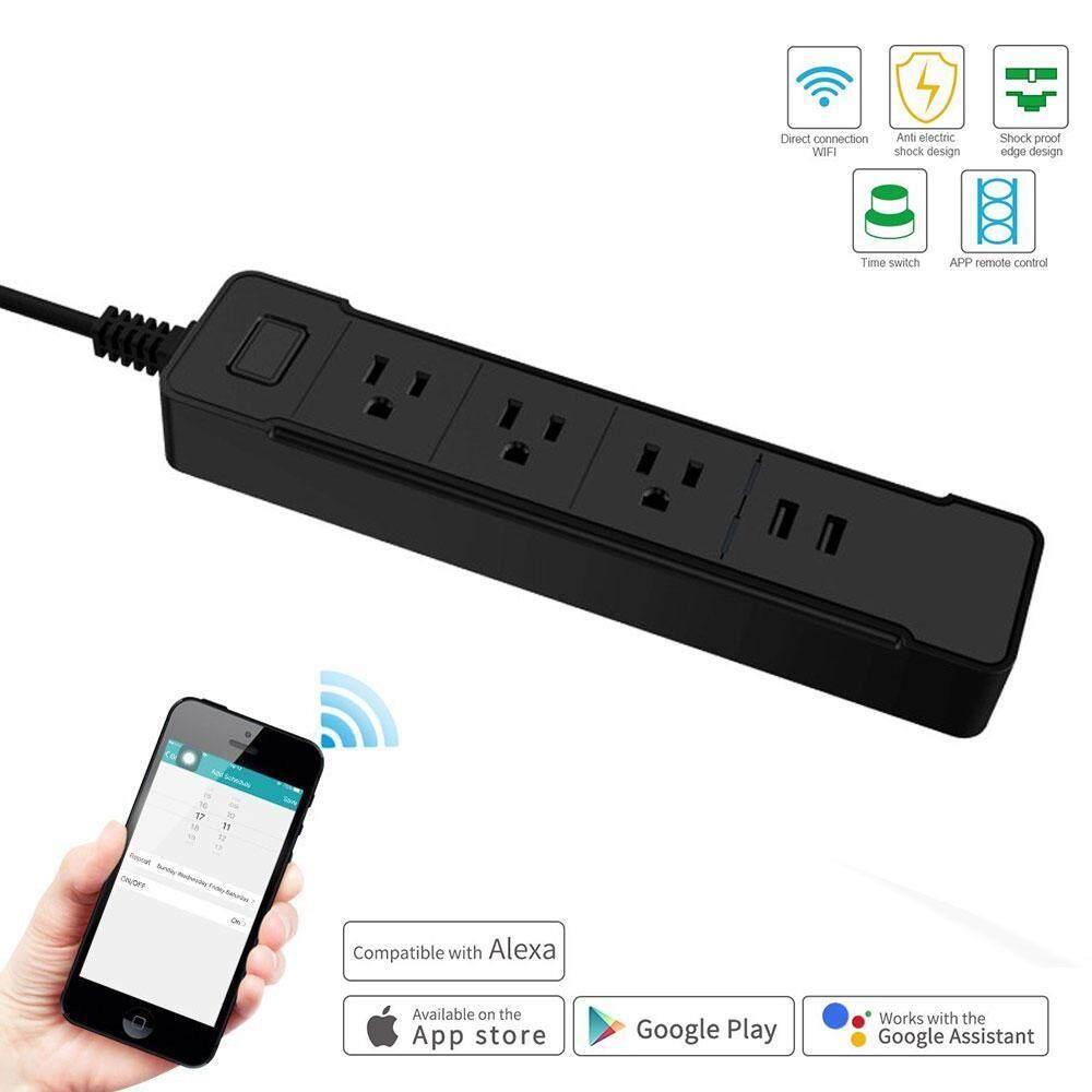 Niceeshop Pintar Wifi Daya Strip Surge Pelindung, pintar 3 Stopkontak AC 2 Port USB untuk Multi Outlets Daya Soket Steker, Individu Pengendali, Fungsi Waktu ...