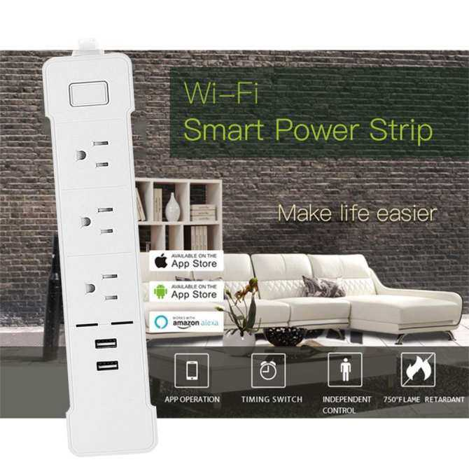 ... niceEshop Smart WiFi Power Strip Surge Protector,Smart 3 AC Outlets 2 USB Ports For ...