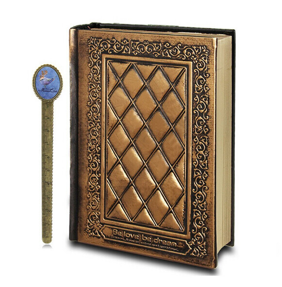 Mua NICESHOP Leather Vintage Embossed Cover Notebook Life Story Book Blank Hardback Scrapbook Travel Ultra Thick Writing Journal Work Diary with Book-Ruler (Bronze) - intl