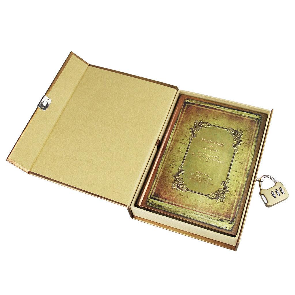 Mua NICESHOP Secret Password Journal A5 Vintage Hardcover Notebook Boxed Diary Weekly Planner Magic Book Stationery Gift with Book Ruler (Gold) - intl