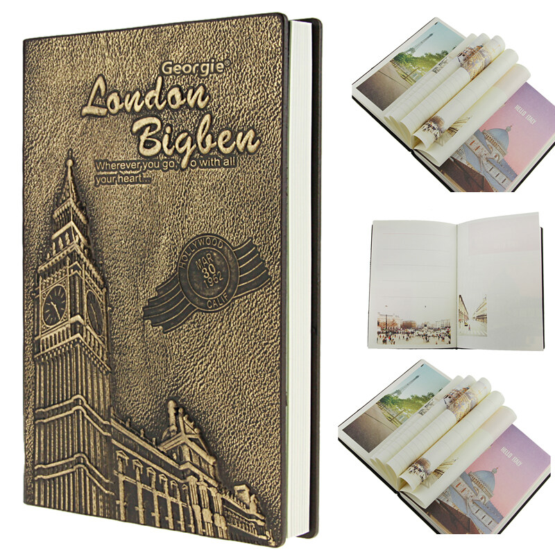 Mua NICESHOP Vintage Leather Hardcover Embossed Beautiful Colored Page Writing Journal Teacher Notebook Travel Story Diary Blank Drawing Writing Doodling A5 Landscape Book Photo Album Scrapbook (Bronze London Big Ben) - intl