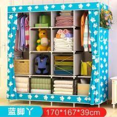 Non-woven Foldable Wardrobe Closet Durable Cabinets Folding Reinforcement Clothes Racks Organizer 170x167x39cm