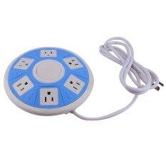 OH Smart Socket 6-AC Outlet UFO Shape Power Strip for Home/Office Use 110-250V white+blue