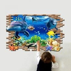 Oulii 3D Blue Ocean Wall Sticker Mural Decal For Kid Baby Bedroom Home Diy Decoration