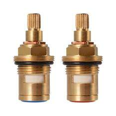 Pair Replacement Brass 1/4 Turn Ceramic Disc Cartridge Hot Cold Tap Valve