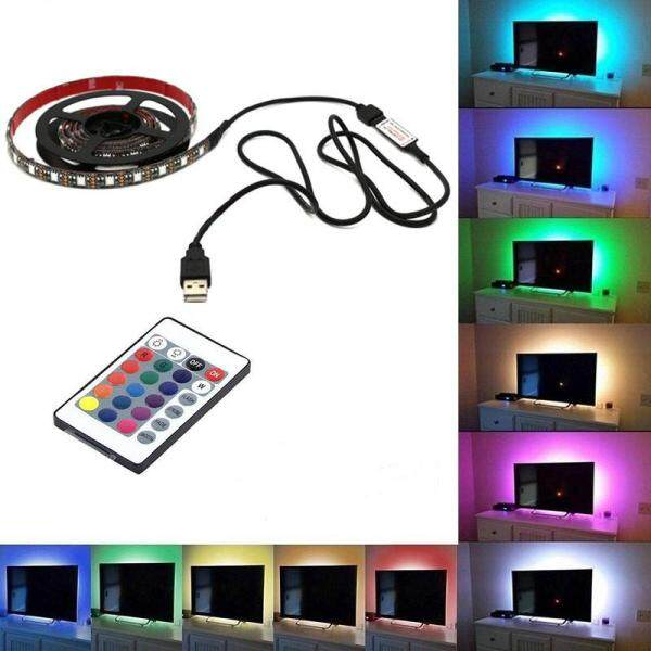 PAlight TV Backlight 5050 USB RGB MultiColor LED Strip Light Remote Control(size:0.5M) - intl
