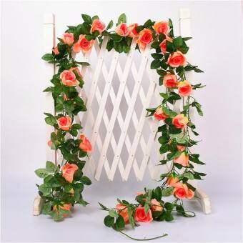 แพนด้าออนไลน์ 2.4 เมตรประดิษฐ์ดอกกุหลาบใบไม้เถาไม้เลื้อยใบพืชแต่งงานตกแต่ง
