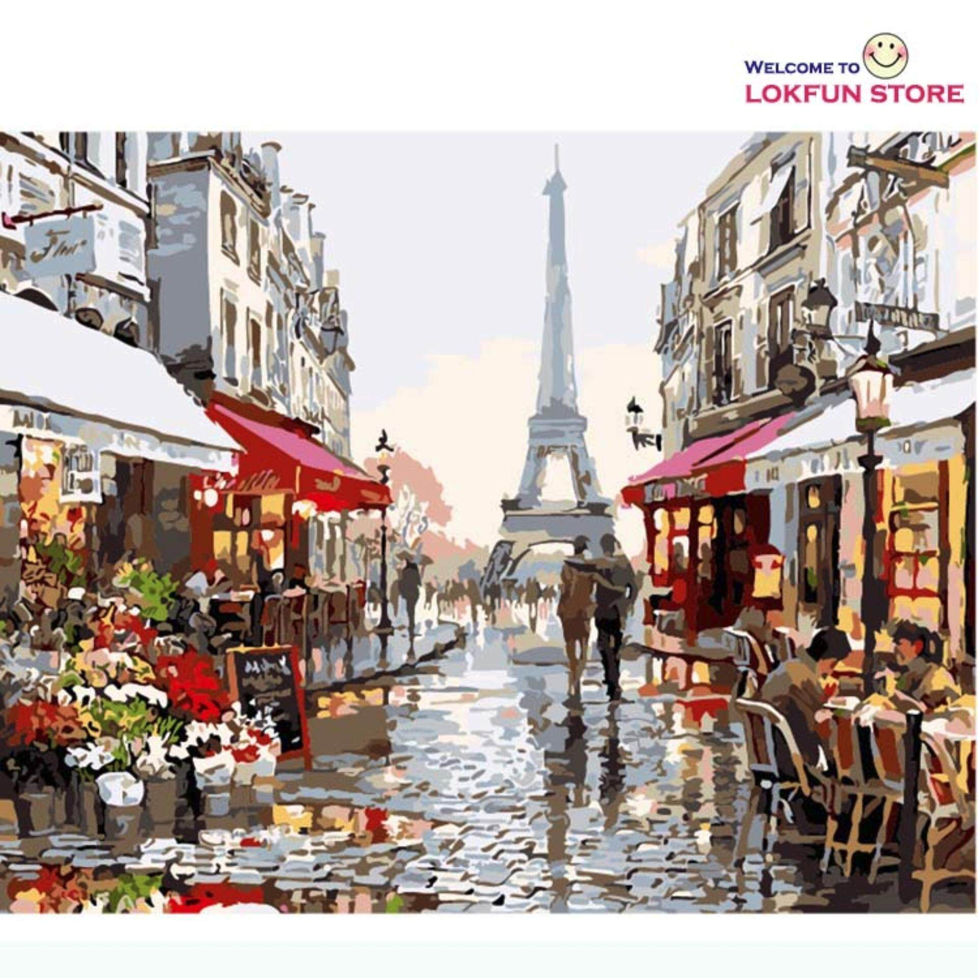 Paris Street Diy Painting By Numbers Handpainted Canvas Painting Home