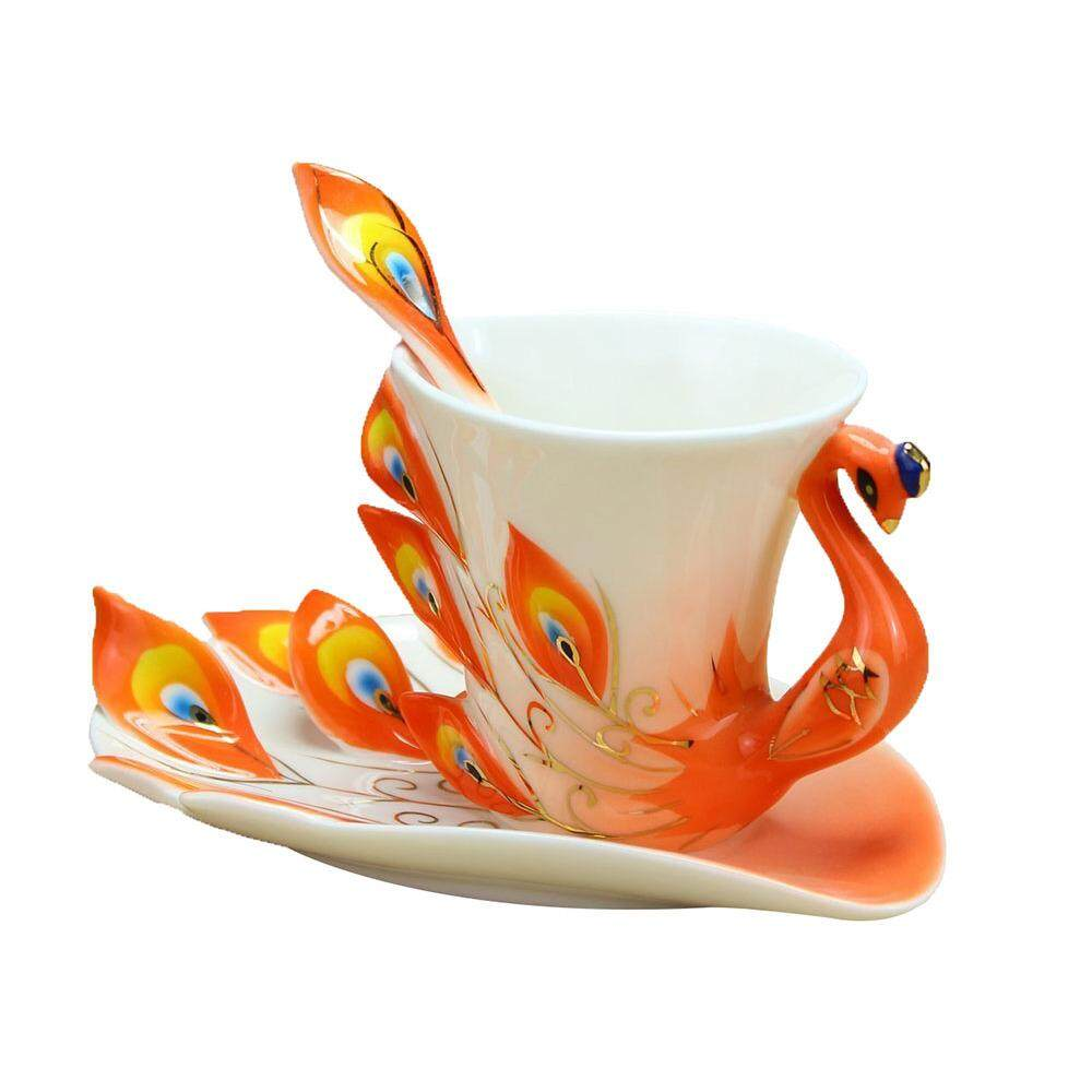 Buy Sell Cheapest 200ml Electric Coffee Best Quality Product Deals Wrp On The Go Bundle 4 Peacock Mugs Hand Crafted China Enamel Porcelain Tea Mug Cup Set With Spoon And Saucer