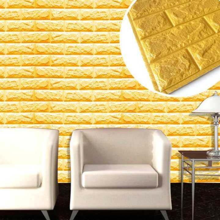 PE Foam 3D Wallpaper DIY Wall Stickers Wall Decor Embossed Brick Stone Gold