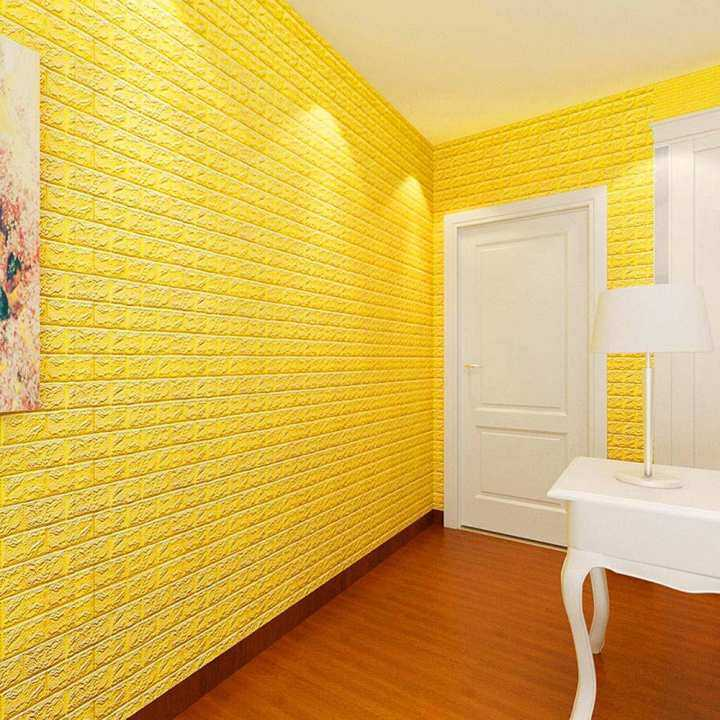 PE Foam 3D Wallpaper DIY Wall Stickers Wall Decor Embossed Brick Stone Yellow