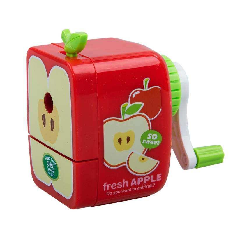 Rautan Pensil Putaran Tangan Manual Apple-Sekolah Bentuk Hadiah Alat Tulis Anak-Intl