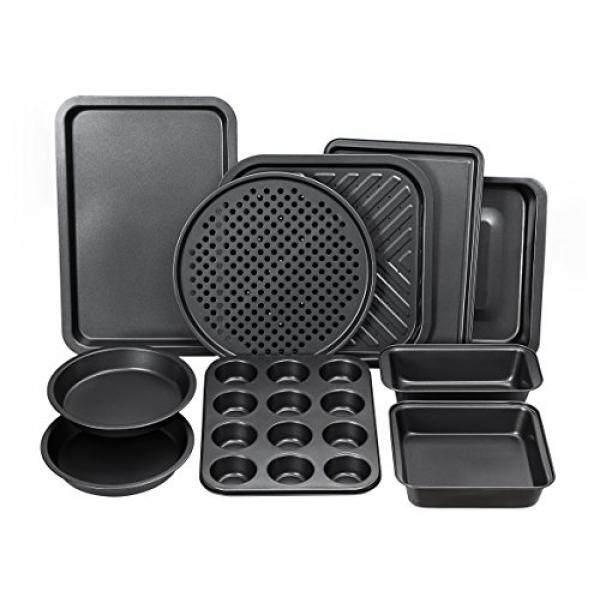 Pirelli Lengkap Bakeware Set 10-Kepingan Non-stick, Oven Crisper, Pizza Tray, Memanggang, loaf, Muffin, Persegi, 2 Kue Bulat Panci, besar dan Nonstick Non Kue Kering Lembar Bake WARE untuk Dapur Rumah-Internasional