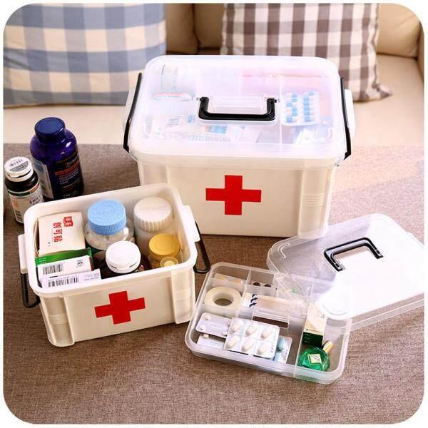Plastic Clear Health Pill Medicine Chest First Aid Kit Case Storage Box 33x24x19cm