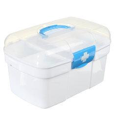 Hình ảnh Plastic Clear Health Pill Medicine Chest First Aid Kit Case Storage Box Blue