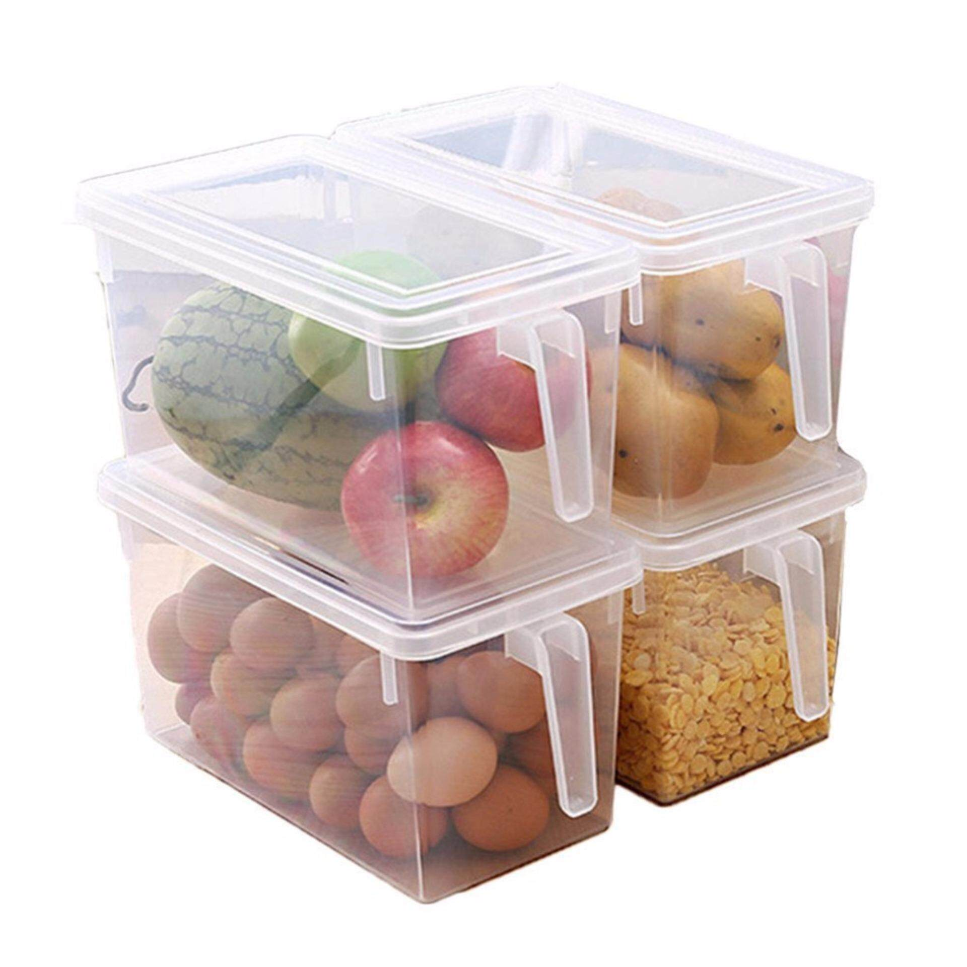 Best Rated Plastic Storage Containers Square Handle Food Storage Organizer Boxes With Lids For Refrigerator Fridge Cabinet Desk Set Of 4 Pack Large Organizer Bins Intl