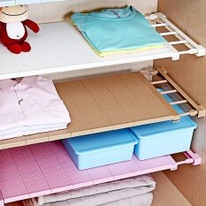 Plastic Wardrobe Closet Storage Shelf Cabinet Stretchable Layered Partition Rack By Funny Face.