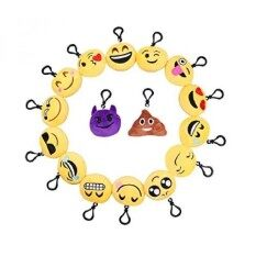Plu Pillows Key Chian, Syz Soft Mini Smile Yellow Face Bedding Pillow Party Supplies Favors For Kids Novelty Graduate Prizes Poop Key Chain Bag Decorations Clip Toy 2 Inches (16 Pack)