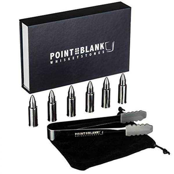 Pointblank Stainless Steel Bullet Shaped Whiskey Stones, Reusable, Stainless Steel Drink Chillers with Tongs and Storage Bag (Set of 6) - intl