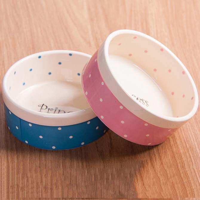 Polka Dot Ceramic Pet Bowls Water Food Feeder Cat Dog Bowl New Design Products