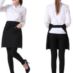 Veli shy Pop Black Bust Waiter Short Apron Kitchen Restaurant Flirty With Pocket