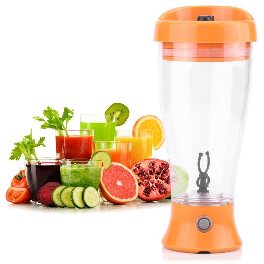 Portable Battery-Powered Automatic Coffee Milk Mixer Mixing Cup Bottle for Home Travel (Orange) - intl