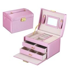 Hiqueen Portable Jewel Cuboid Three Layers Jewelry Boxes with Lock Storage Box