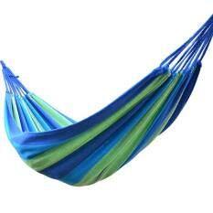 [uebfashion] Portable Outdoor Hammock Hang Bed Travel Camping Swing Canvas (blue Stripe) By Uebfashion.