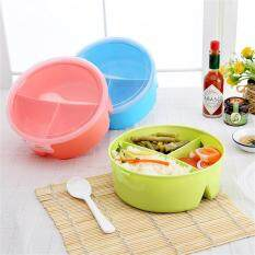 LB Portable Round Kids Lunch Boxes with 3 Partition Grids Picnic Bento Food Container Storage with Spoon Random Color