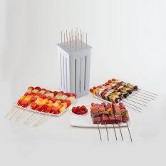 Practical High-quality Hot Sell 16 Bamboo BBQ Satay Kebab Shish Shaslick Maker Skewers Slicer Grill Meat Cutter