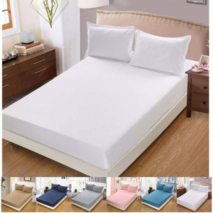 premium comfort 3 in 1 queen size fitted sheet bedding set white lazada. Black Bedroom Furniture Sets. Home Design Ideas