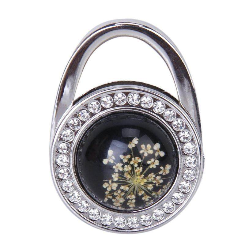 Pressed-Flower Pattern Round Rhinestone Handbag Folding Hanger Hook (Black)