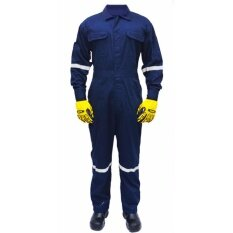 Quest Safety Reflective Workwear Coverall Navy Blue Size Xl By Ecis.