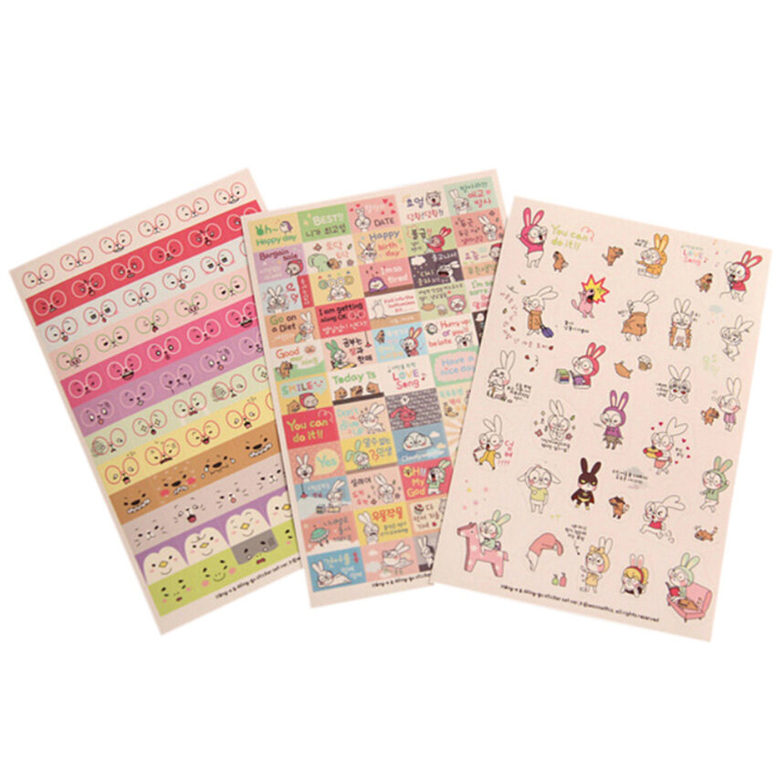 Mua Rabbit Diary Book Sticker Scrapbook Calendar 6 Sheets Mixed-Color - intl