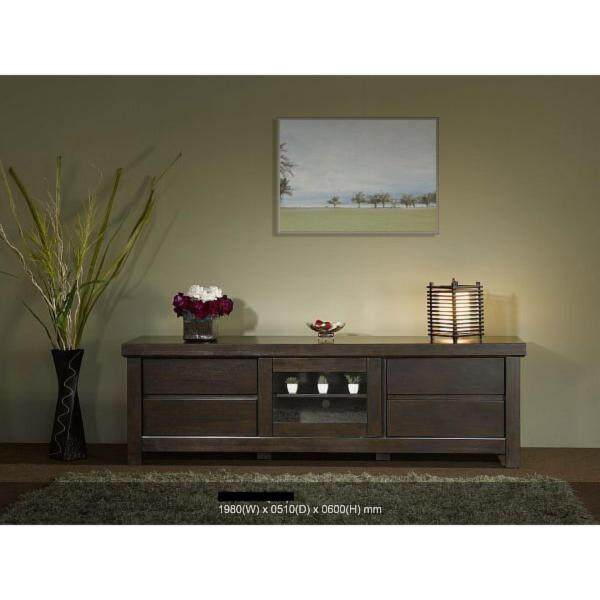 Ready-Fixed 6 & Half Feed Solid Wood TV Cabinet (Oak Color) 1703 L1980MM X D510MM X H610MM With 5 Years Warranty