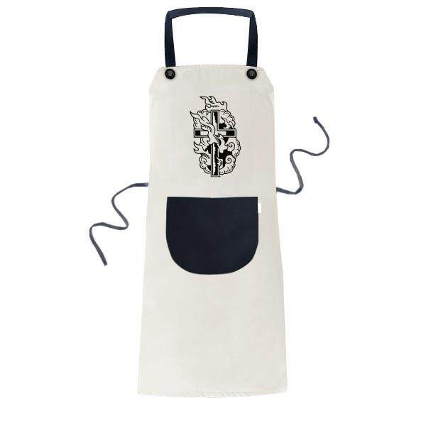Religion Christianity Holy Cross Fire Cooking Kitchen Beige Adjustable Bib Apron Pocket Women Men Chef Gift - intl