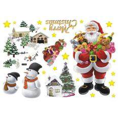 Removable Wall Stickers The Santa Claus Merry Christmas Art Decals Mural DIY Wallpaper for Room Decal