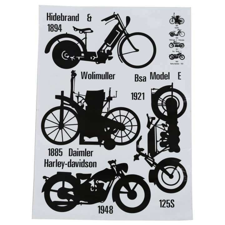 Retro abstract style street series wall art Decal Mural wallpaper for house home decoration(motorcycle)