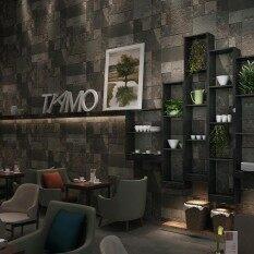 Retro Brick Wall Stickers for Restaurant KTV Clothing Shop Black Colour 20.8 x 393.7