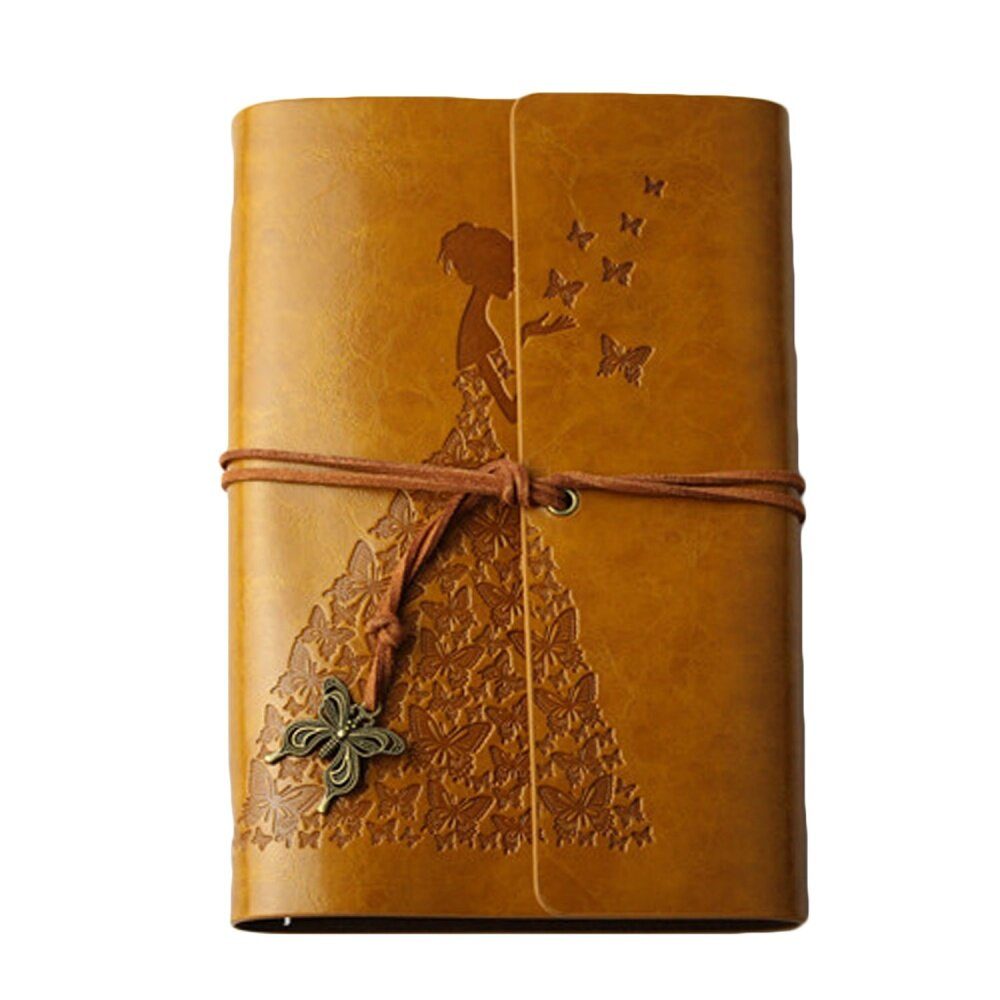 Mua Retro Charming Girl Style Kraft Paper Journal Diary Notebook Scrapbook Album Book with PU Leather Cover Butterfly Pendant String 80 Sheets A6 Size Yellow - intl