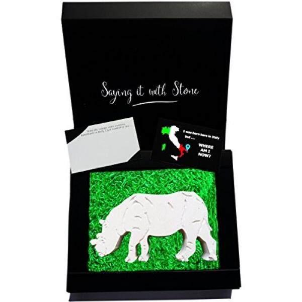 Rhino-Sempurna Hadiah Hari Valentine-Handmade Di Italia-Hadiah Elegan Kotak Kosong Kartu Pesan-Simbol Kepercayaan & Kebijaksanaan -Batu Berisi Fosil Fragmen-Ulang Tahun Ulang Tahun Pensiun-Intl